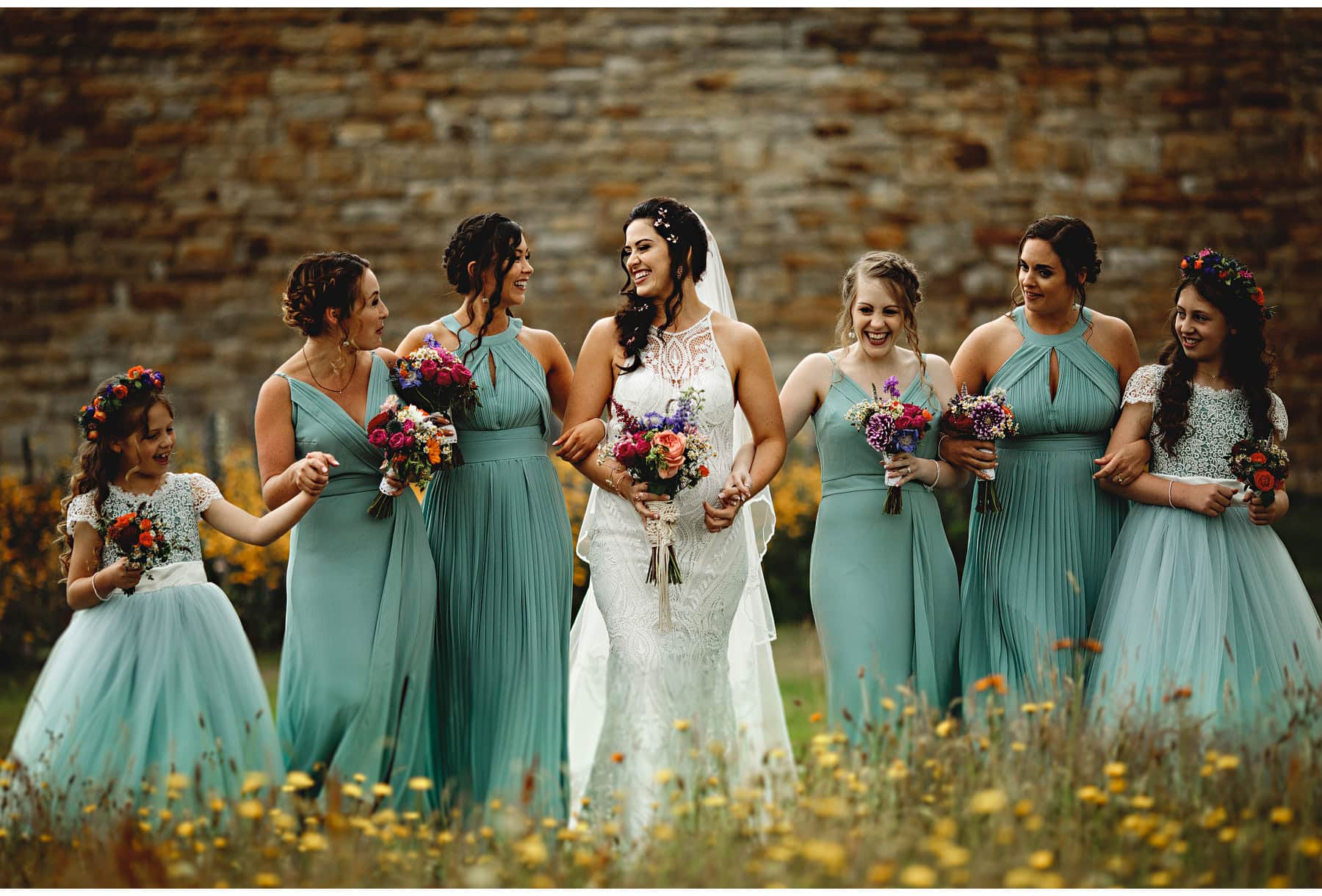 the bride and her bridesmaids at Sheffield Lodge