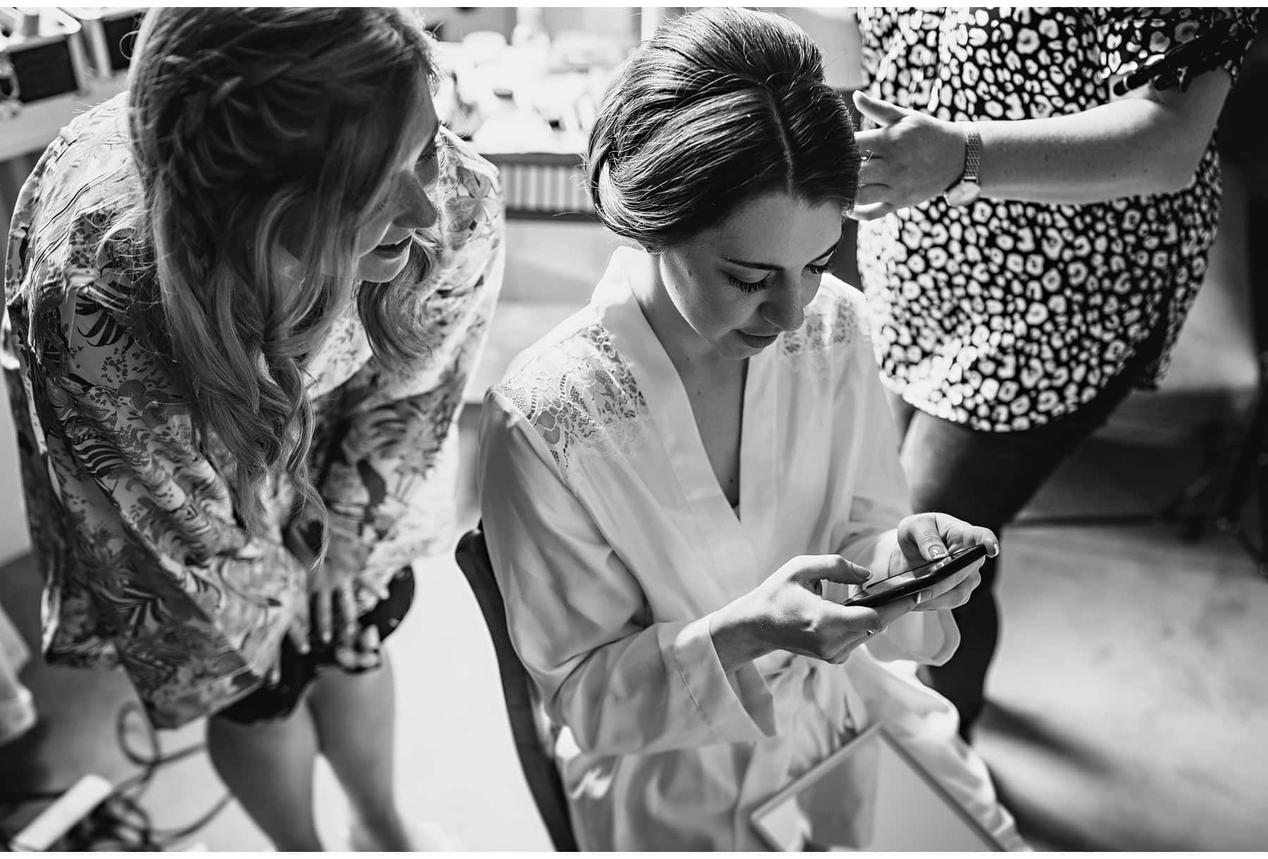 The bride checking her messages