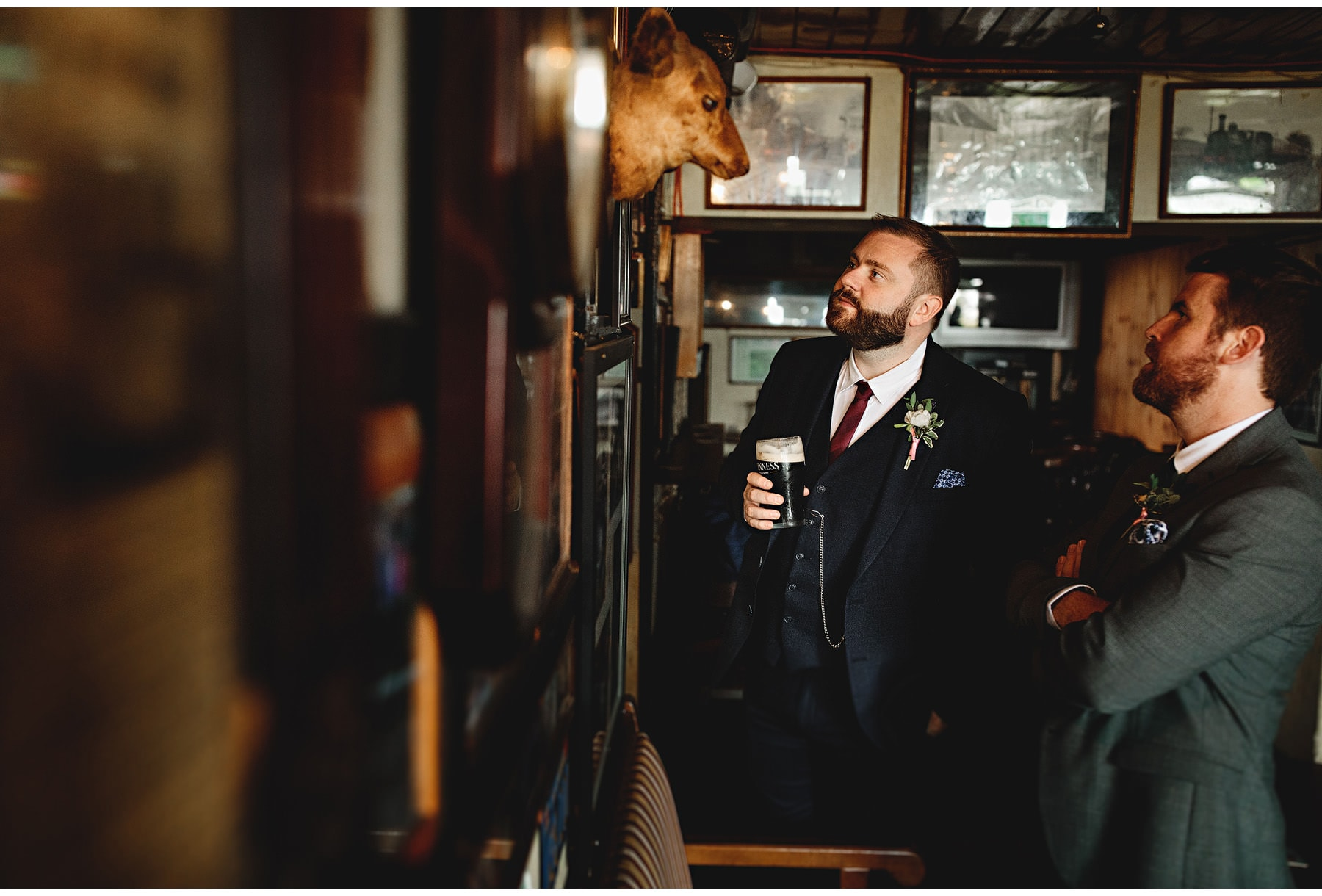 wedding guest at the pub