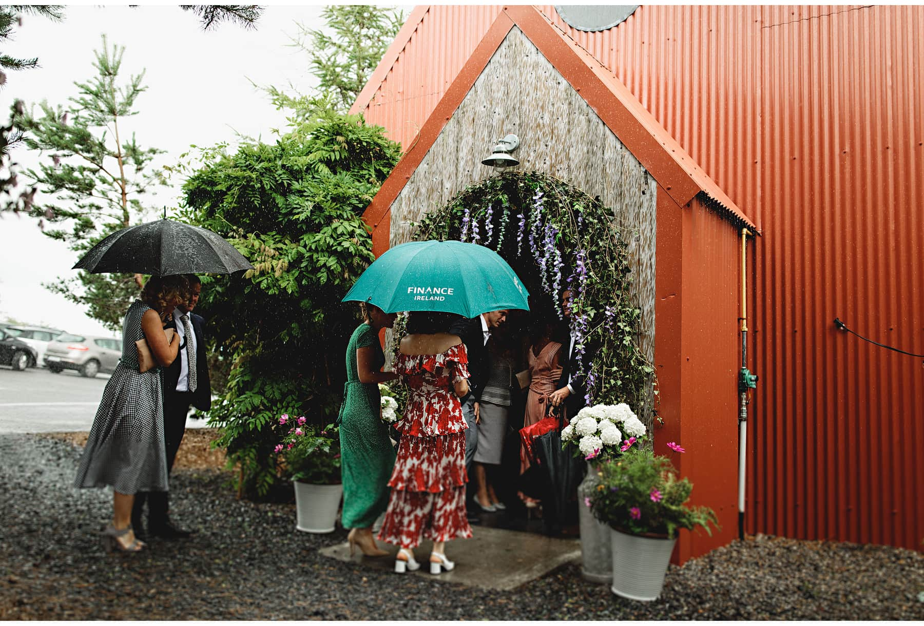 raining at the wedding venue