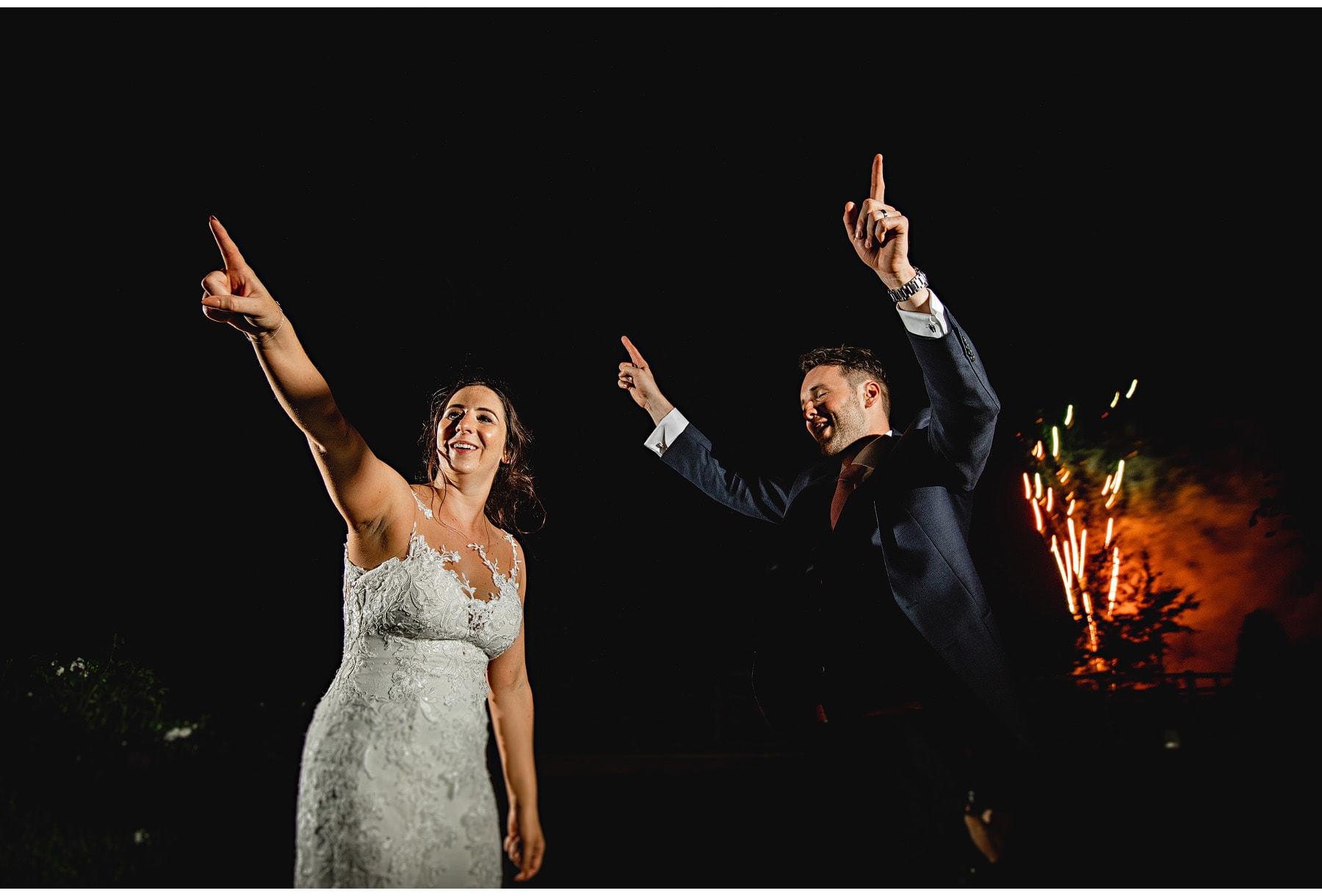 the bride & groom dancing