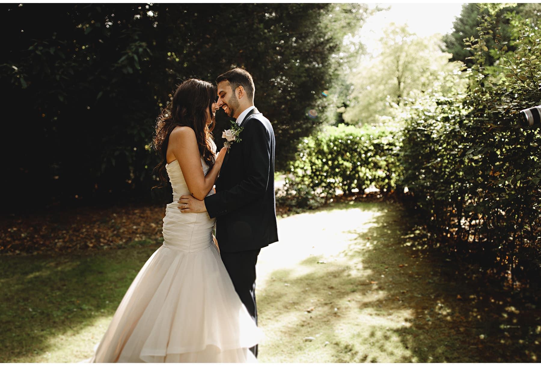 the bride & groom in the sun