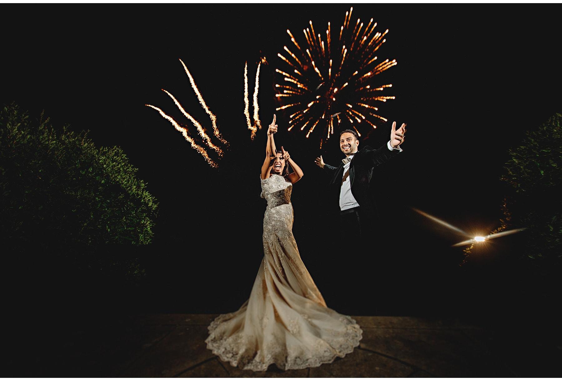 the bride & groom loving the fireworks.
