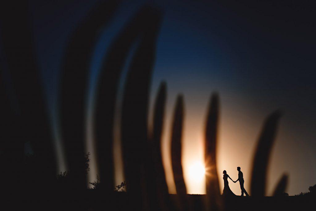 bride & groom in silhouette in long grass