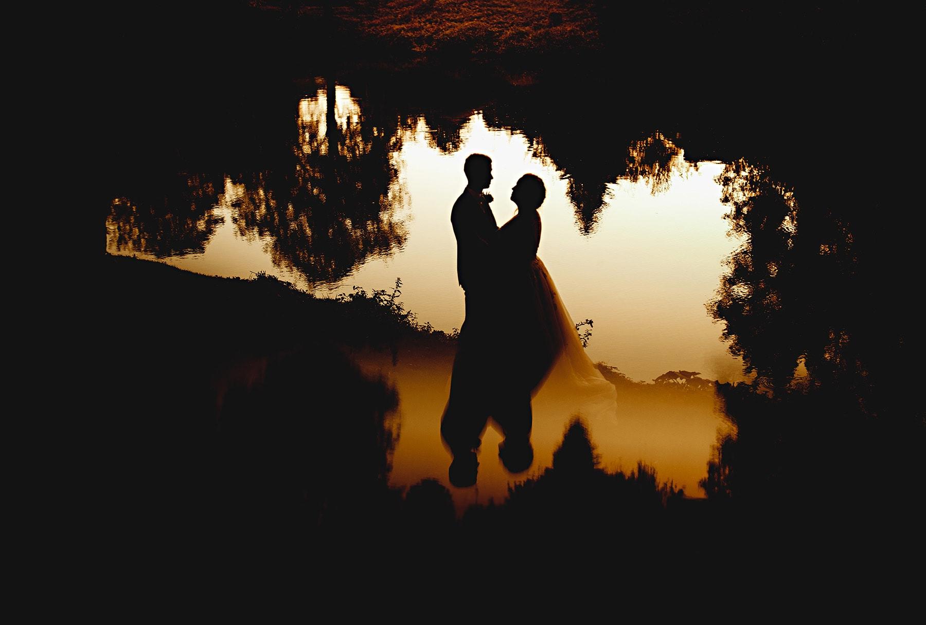 Orange sunlight golden hour on a wedding day