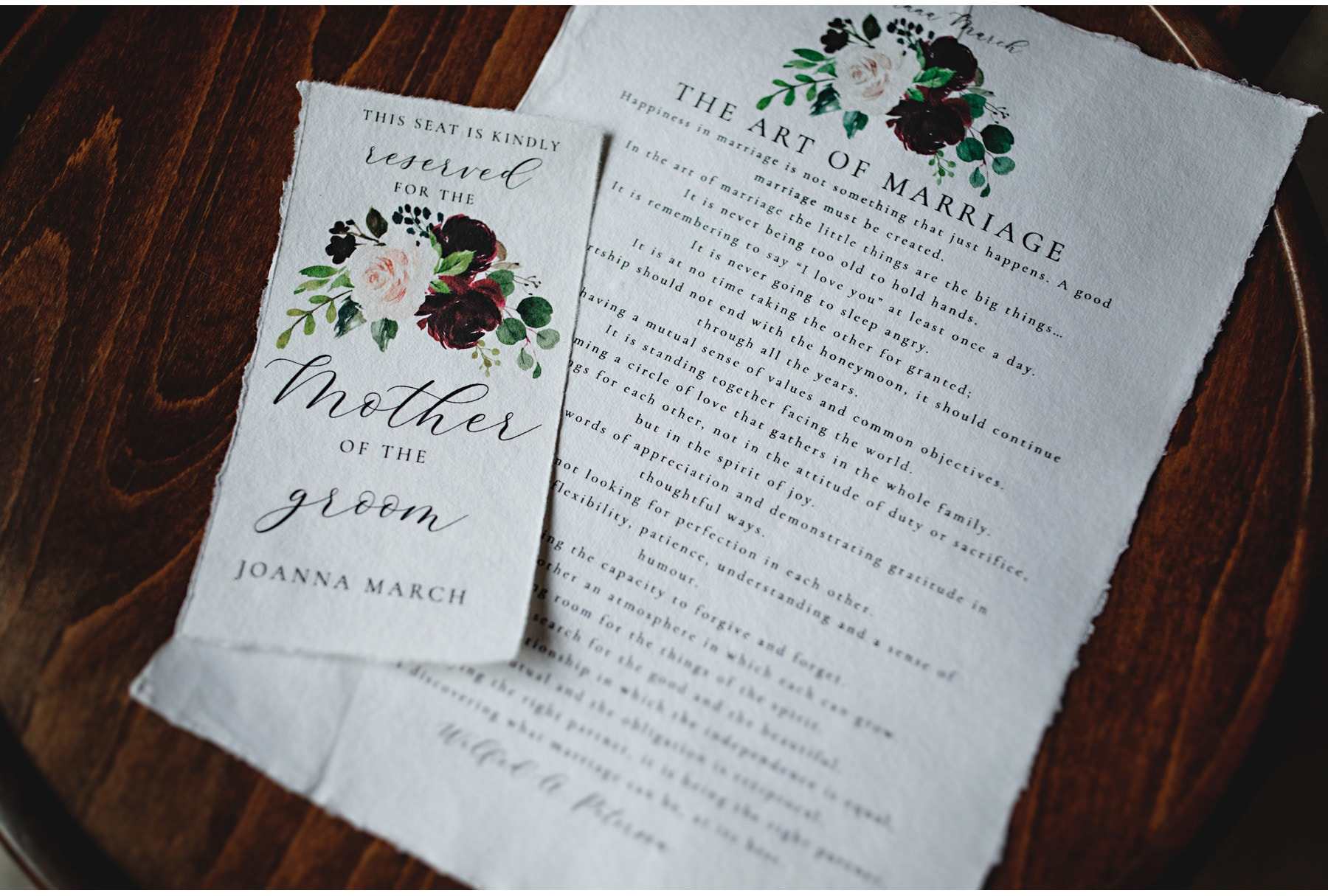 the wedding stationery