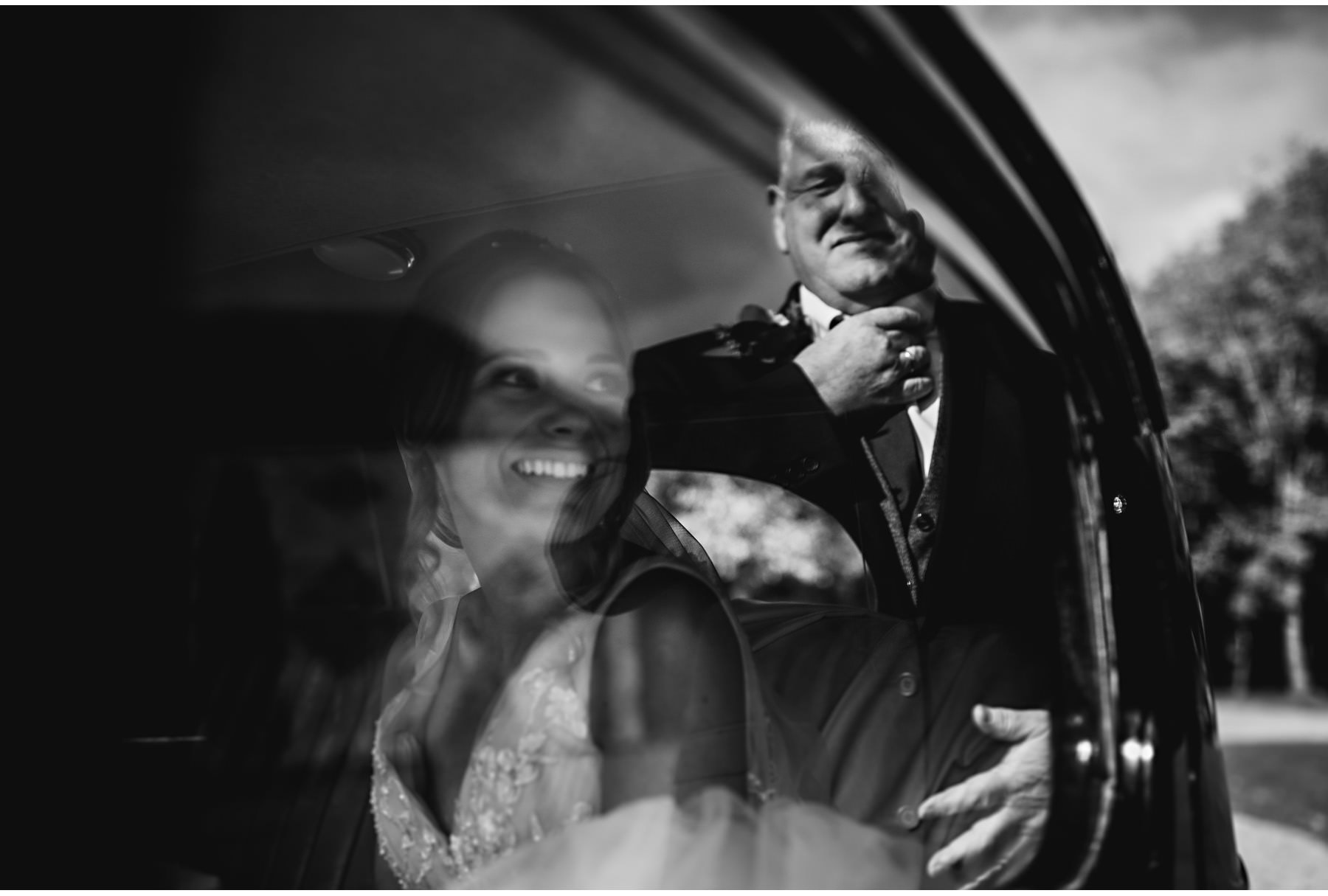 the bride in the car, dad's reflection in the window