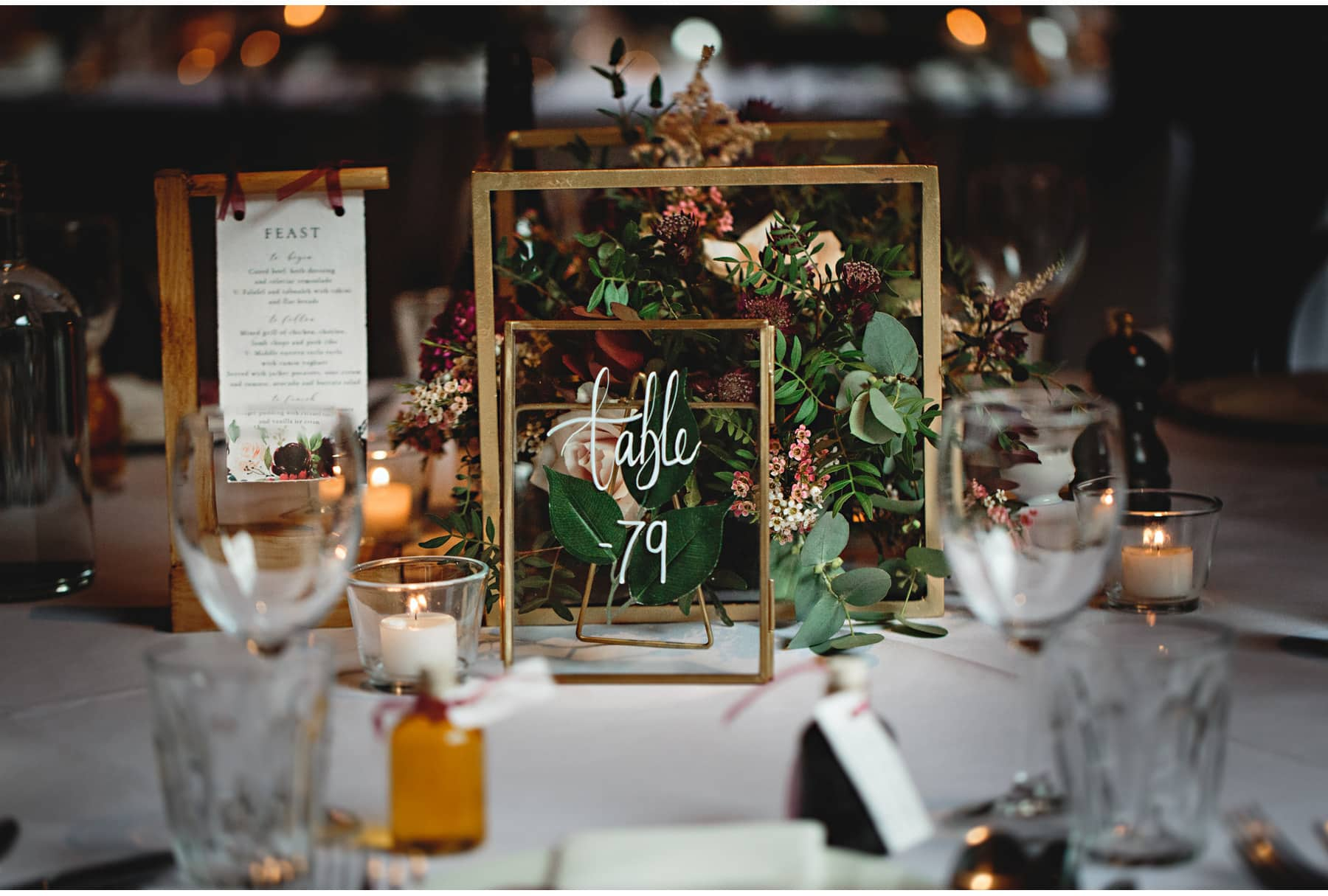 Beautiful table numbers for the wedding breakfast