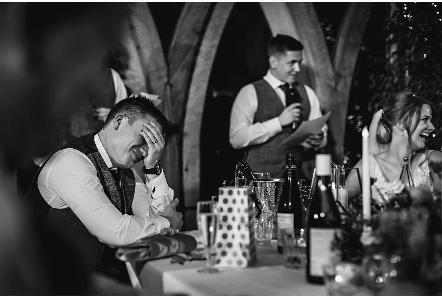 the groom embarrassed by the best man's speech