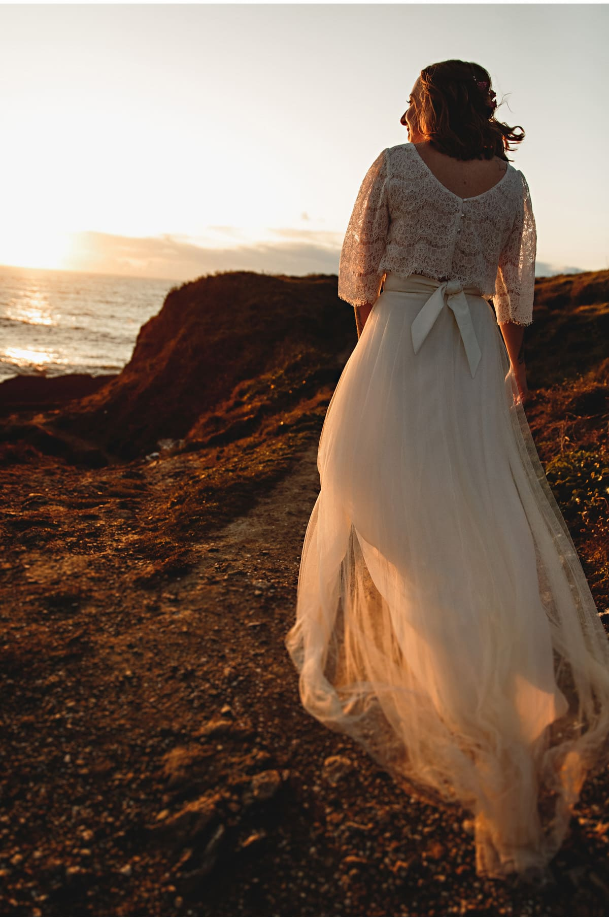 the bride at sunet