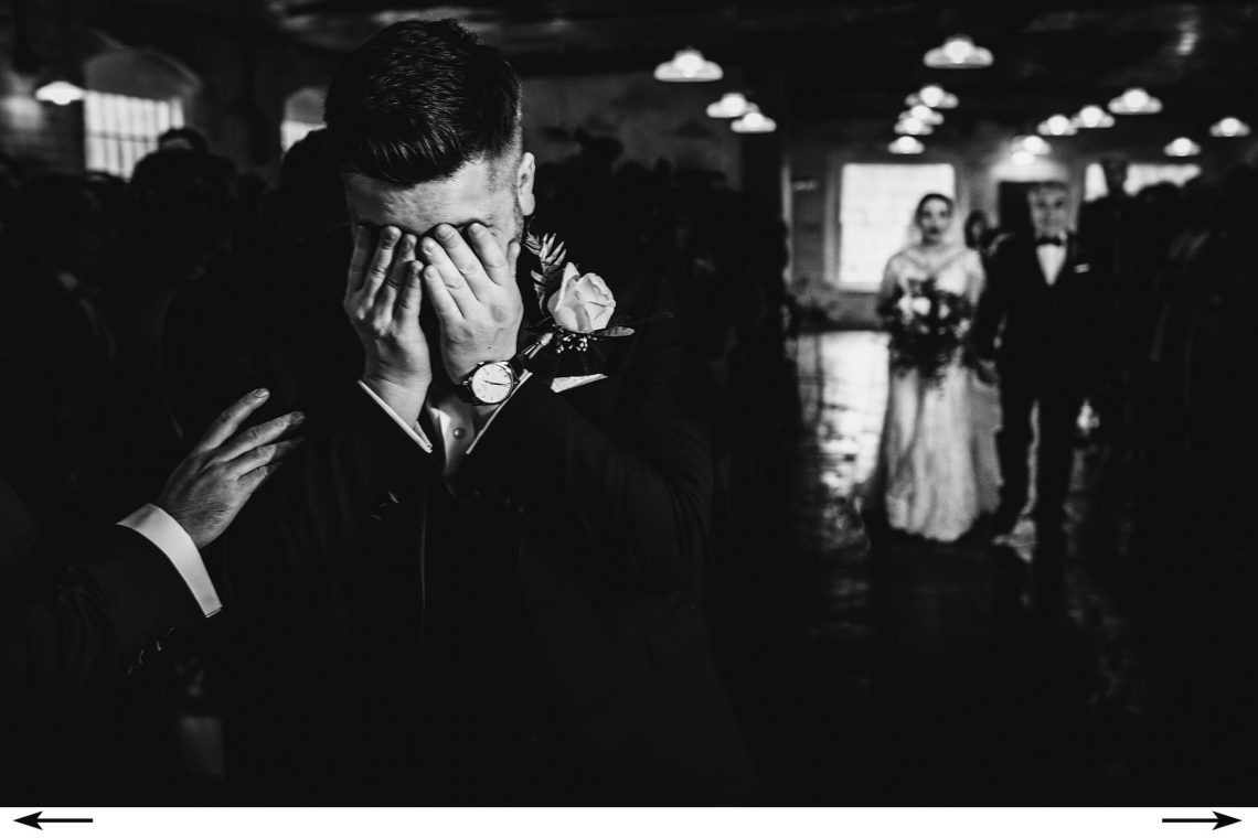 Derbyshire wedding photographers dream venue - the west mill. its ok to show emotion as the bride walks down the aisle. We like to be there at the front to capture it all with our cameras