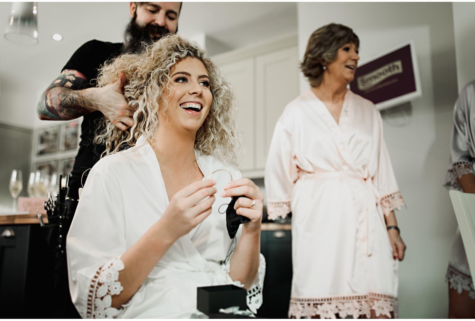 the bride enjoying her birdal preparations