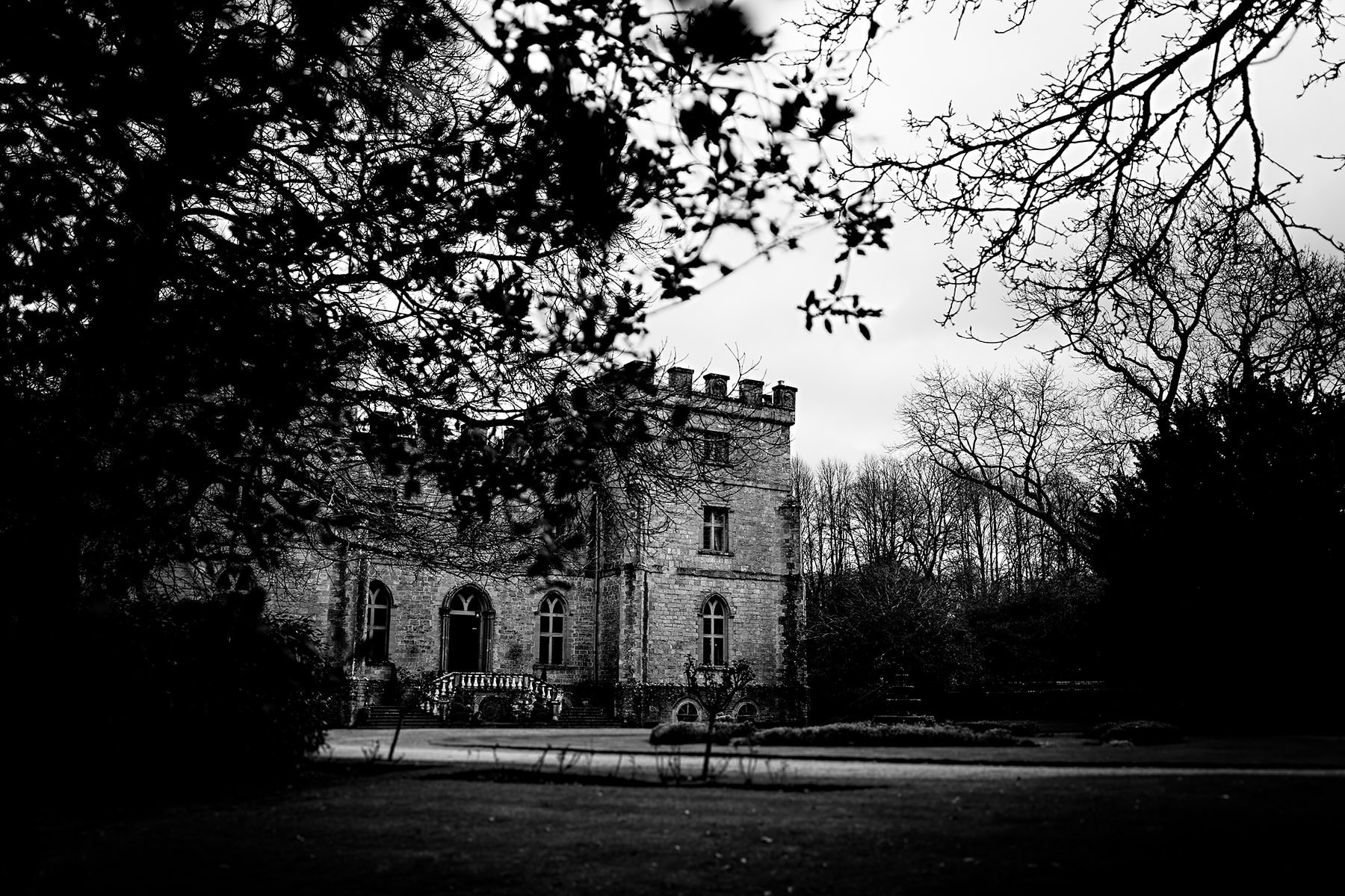a picture in black and white of clearwell castle amongst the trees