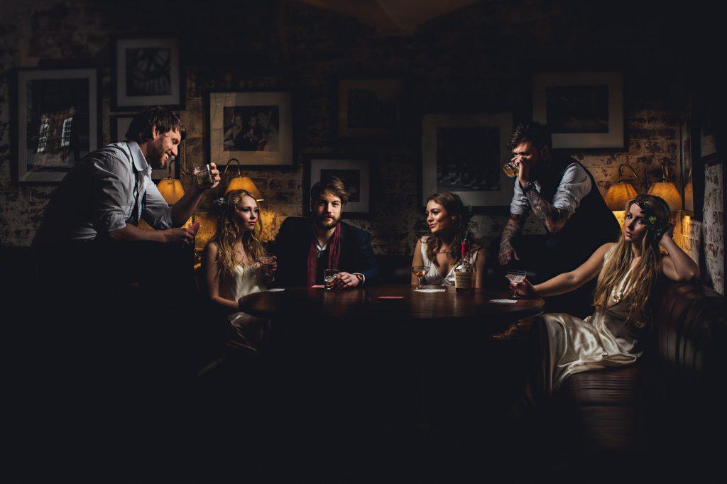 alternative creative group photos at wedding venue by a derbyshire wedding photographer